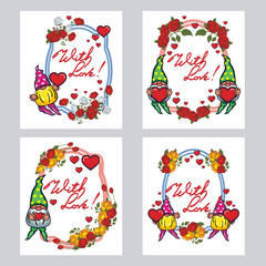 "Set of labels with roses, cute gnome holding heart and artistic written text ""With love!"". Vector clip art."