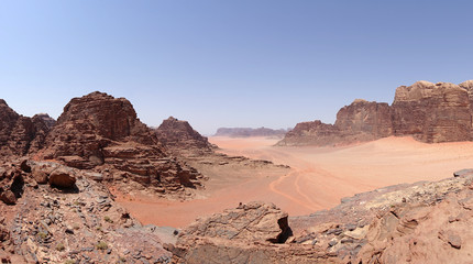 Panoramic view of the Wadi Rum desert, Jordan (UHD, 4K, 16x9)