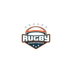 Rugby badge. Sport logo. Vector illustration.