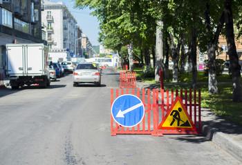 sign detour, road repair