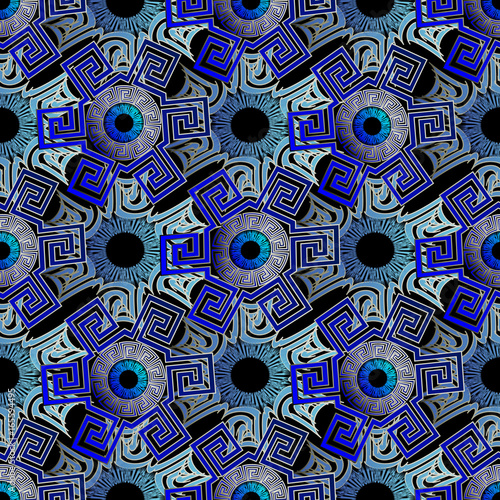 Evil Eye Seamless Pattern Geometric Background Wallpaper