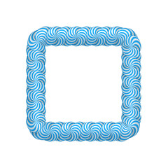 Lollipop blue square frame. Candy design for photo album and scrapbook to store favorite memories and pictures. Realistic vector illustration on white background