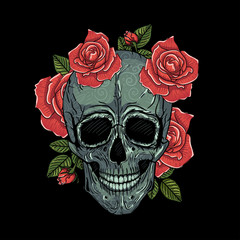 Mexican skull vector illustration tattoo, hand drawn. T-shirt print. Colors