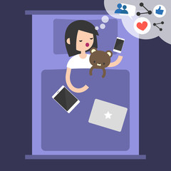 Young blogger dreaming about success in social media / flat editable vector illustration, clip art