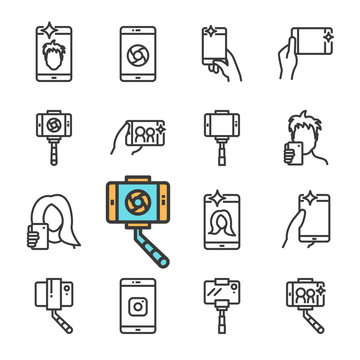 Vector black line Selfie icons set. Includes such Icons as selfie stick, smartphone, front camera, Smartphone in hand.