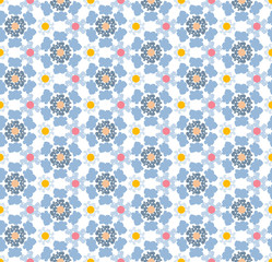 Abstract geometric pattern, floral background.