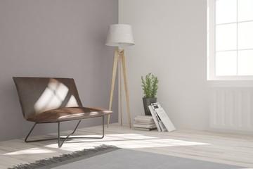 White minimalist room with armchair. Scandinavian interior design. 3D illustration