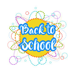Back To School Logo Colorful Text On White Background Flat Vector Illustration
