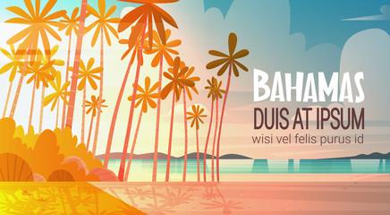Bahamans Sea Shore Beach On Sunset Beautiful Seaside Landscape Summer Vacation Concept Flat Vector Illustration
