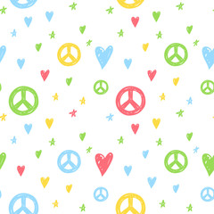 Vector seamless cartoon pattern with peace sign, hearts and stars. Hand drawn colored hippie pattern for paper, textile, handmade decoration, scrap-booking, polygraphy, clothes, cards.