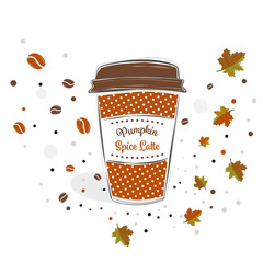 Pumpkin spice latte sign text over paper coffee cup with abstract coffee beans and leaves background vector illustration. Line design hand drawn coffee cup.