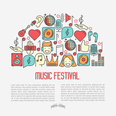 Music festival concept in half circle with thin line icons DJ in headphones, vinyl player, disco ball, microphone, tickets. Vector illustration for banner, web page, flyer.