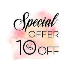 Sale special offer 10% off sign over original grunge art brush paint texture background watercolor stroke vector illustration. Perfect watercolor design for shop banners or cards.