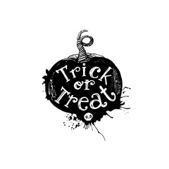 Door stickers Halloween Trick or treat pumpkin art concept
