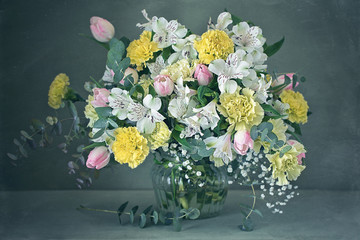 Beautiful bouquet of flowers on the table.