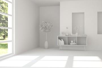Idea of white room with shelf. Scandinavian interior design. 3D illustration