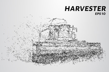 Harvester of particles. The harvester consists of small circles. Combine into smaller molecules. Vector illustration.