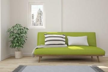 White minimalist room with green sofa. Scandinavian interior design. 3D illustration