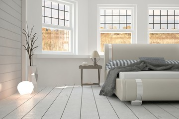 White minimalist bedroom. Scandinavian interior design. 3D illustration