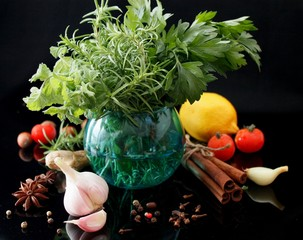 Herbs and spices selection on dark background - cooking, gardening or vegetarian concept