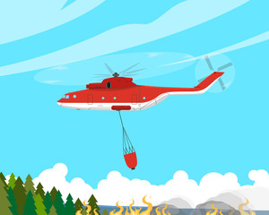 A fire helicopter extinguishes a fire in hard-to-reach places. Vector illustration