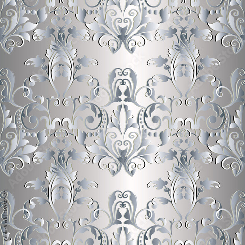 Baroque seamless pattern damask floral silver background wallpaper damask floral silver background wallpaper illustration with vintage 3d flowers swirl mightylinksfo