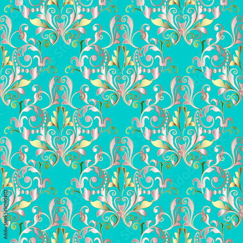 Damask seamless pattern floral turquoise background wallpaper with floral turquoise background wallpaper with vintage gold pink green flowers swirl mightylinksfo