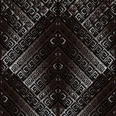 Grunge geometric greek key seamless pattern. Tapestry dark background wallpaper illustration with vintage ancient greek key ornaments, grunge stripes, rhombus, shapes, figures. Vector arras texture