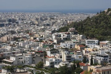 Aerial view of Athens, Greece.
