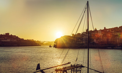 Wonderful sunset on the river in Porto, Portugal. Panoramic view