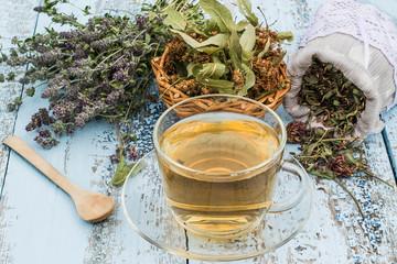 Various meadow herbs and tea
