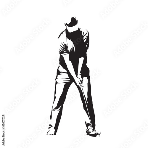 golf player standing and preparing for golf swing ball abstract vector silhouette