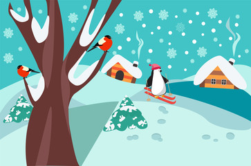 happy holidays winter landscape with firs, tree and cute skiing penguin.