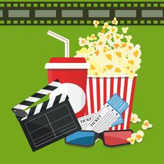 Vector illustration. Popcorn and drink. Film strip border. Cinema movie night icon in flat design style. Bright background.