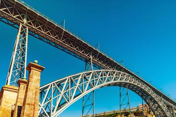 Beautiful steel bridge of St. Luis in Porto