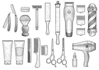 Barber shop illustration, drawing, engraving, ink, line art, vector