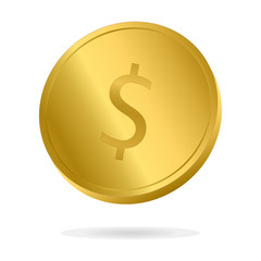 Realistic Gold Dollar coin vector illustration. Money currency coin.