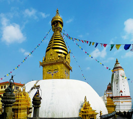 Swayambhunath - ancient Buddhist temple on the top of the hill in Kathmandu, Nepal