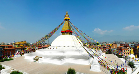 Panoramic view of the Boudhanath Buddhist complex located in the centre of Kathmandu city, Nepal
