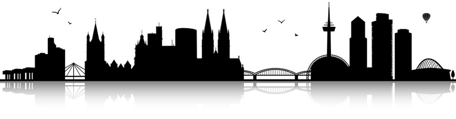 Köln Skyline Silhouette schwarz