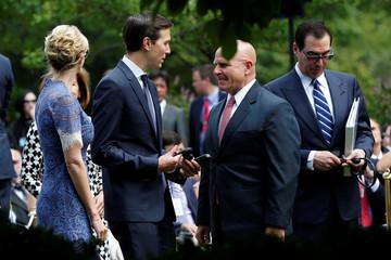 Senior advisor Jared Kushner talks to National security adviser Lt. Gen. H.R. McMaster