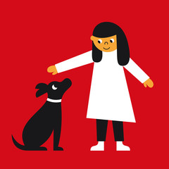 Girl and his dog vector illustration
