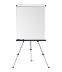 Vector realistic flipchart on tripod easel isolated on white background