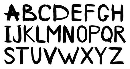 Handwritten black watercolor alphabet capital letters ABC