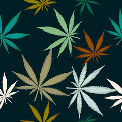 Seamless pattern with leaves of marijuana on dark green background. Colorful cannabis leaves. Vector illustration