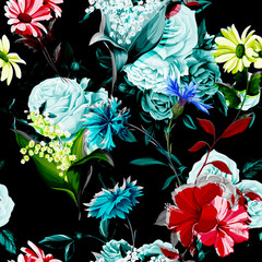 Seamless background pattern of chinese roses, peony, cornflowers, lily of the valley, camomile with leaves on black. Vector - stock.