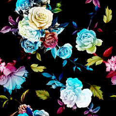 Roses and peony with leaves on black. Stylized. Watercolor, hand drawn. Seamless background pattern. Vector - stock.