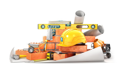 Construction concept. Part of brick wall in construction process with construction tools isolated on a white. 3d illustration