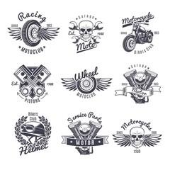 Vintage Monochrome Motorcycle Labels Set