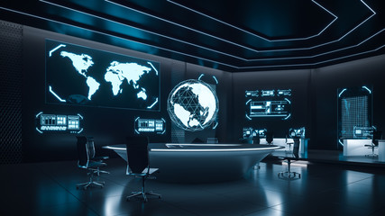 Command center interior, cybersecurity